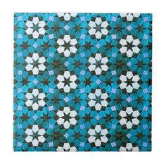 Turquoise & White Flower Pattern Small Square Tile