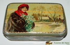 TesorosDelAyer.com · Old Antique Vintage Tin Box · Old tins boxes · OLD TIN BOX WITH ADVERTISING LITHOGRAPHED FLEUR DE LIS, 10 DOOR SOL MADRID - ILLUSTRATED BY CHANTECLER - MEASURES 18 X 11.5 X 5 CMS. G. DE ANDREIS BADALONA