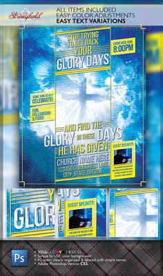 Glory Days Church Flyer Template — Photoshop PSD #blue #teaching • Available here → https://graphicriver.net/item/glory-days-church-flyer-template/2206708?ref=pxcr