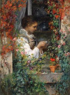 Girl in a Window   -    Alfred Émile Léopold Stevens ,  1842
