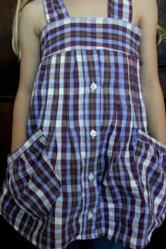 refashion men's shirt to cute girl dress. tried to do this into a shirt for me instead of a dress for girls. big fat FAIL.
