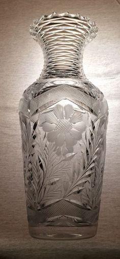 American Brilliant Period ABP Floral Cut Vase Diamond Stepped Neck Circa 1905
