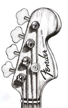 Black and white Guitar Sketch, Guitar Drawing, Fender Guitars, Fender Bass, Guitar Painting, Art Sketchbook, Fender Precision Bass, Pencil Drawings, Art Drawings