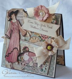 Amazing A Ladies' Diary card from @Gloria Stengel with a bookmark gift pocketed on the cover! How fun and beautiful! #graphic45 #cards