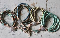 Layered Bracelets, Leather Bracelets, Leather Jewelry, Beaded Bracelets, Beadwork, Beading, Fashion Jewellery Online, Bohemian Bracelets, Matching Necklaces