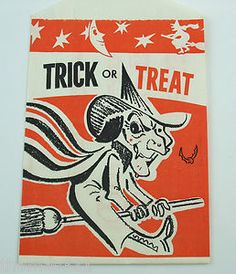 Vintage Halloween Treat Bag ~ Trick or Treat w/ Flying Witch Courtesy of The National Kidney Foundation