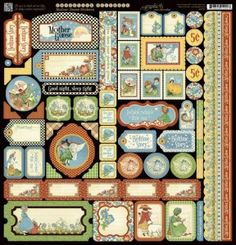Graphic 45 mother goose collection stickers and stamps