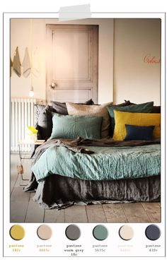 Incredbly kaki palette, fall colour palette, autumn colours - Best Decoration ideas for the home Bedroom Color Schemes, Bedroom Colors, Bedroom Decor, Colour Schemes, Bedroom Colour Palette, Colour Trends, Italian Interior Design, Home Interior Design, Interior Paint