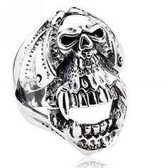 925 Sterling Silver Punk Vampire Skull Ring Gift For Men