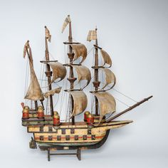 Laivan pienoismalli, k 84 cm, p 80 cm. Sailing Ships, Boat, Design, Dinghy, Boats, Sailboat, Tall Ships, Ship