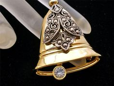 Vintage Bell Brooch Signed Darlene Gold Silver Rhinestone Two Tone Christmas Pin #Darlene