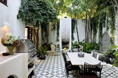 Outdoor kitchen and dining courtyard