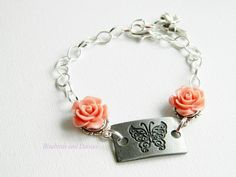 Peach roses and butterfly bracelet