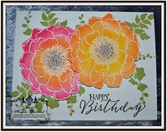Ange's Treasures: Blended Bloom - Embossed and Sponging Method. Emboss your Blended Bloom with White Embossing Powder, Heat to set, using daubers add your color and then cut out your flowers.