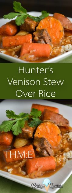 Hunter's Venison Stew Over Rice – budget friendly and made in the Crockpot! This Hunter's Venison Stew Over Rice is quick and easy to put together in the crockpot! THM:E, low fat, gluten/egg/dairy/nut free Breakfast Crockpot Recipes, Cooking Recipes, Cooking Tips, Dishes Recipes, Deer Recipes, Game Recipes, Punch Recipes, Yummy Recipes, Gourmet