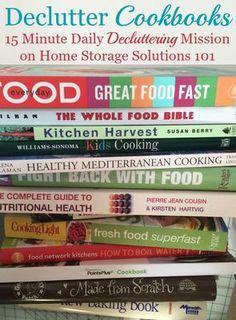 How to declutter cookbooks and cooking magazines, with criteria to consider when deciding which books to keep and which to save {part of the #Declutter365 missions on Home Storage Solutions 101}