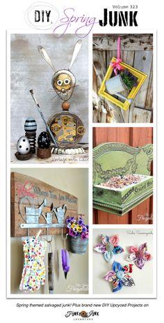 PJ 323 - 152+ DIY spring junk ideas! Chair bird feeder, industrial junk bunny, watering can door wreath, scrap fabric & vintage button flowers, and more!
