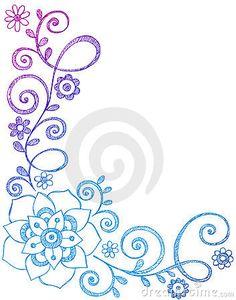 Doodles esboçado do caderno da flor e da beira das videiras