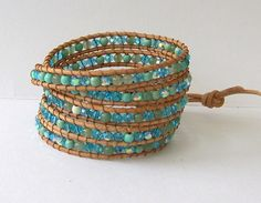 Chan Luu Inspired Leather Wrap Bracelet with Turquoise Mix Beads on Natural Beach Leather.