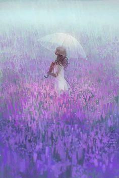 Rain meadow flowers umbrella girl