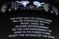 Today MSG is having no music, in game entertainment or videos in the first half. Interesting idea.