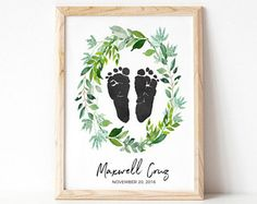 Turnaround time for proofs is currently 1-2 business days for stock orders and 3-5 business days for & actual foot/hand print orders. At this time we are still accepting orders for US delivery by Fathers Day. Thank you! ____________________________________________________________ BABY FOOTPRINT & WATERCOLOR FLOWER ART PRINT, UNFRAMED Custom art print of YOUR baby's right and left foot made into a heart, or kept side by side with beautiful watercolor floral imagery. Footprints ar...