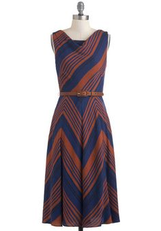 Inclined to Agree Dress by Eva Franco - Blue, Brown, Stripes, Luxe, Sheath / Shift, Sleeveless, Long, Belted, Work, Fall, Cowl, Chevron
