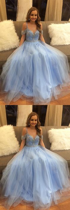 Gorgeous Beading Blue Tulle Long A Line Puffy Prom Dress,Graduation Dress #blue #puffy #tulle #prom #beads #okdresses #promdresses