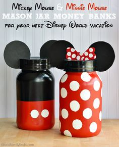 DIY Mickey Mouse and Minnie Mouse Mason Jar Money Banks for saving money towards your Disney World Vacation