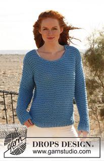 "Sweet Lady Blue - Pull DROPS au point mousse, en ""Ice"" ou ""Eskimo"" - Free pattern by DROPS Design"