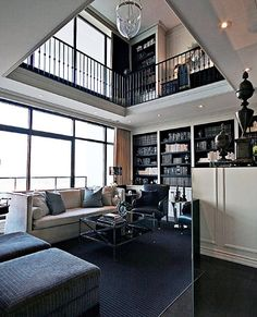 Two-story living room, add a library on the second floor.