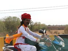 Religious - Religious biker on the roads of Rajasthan