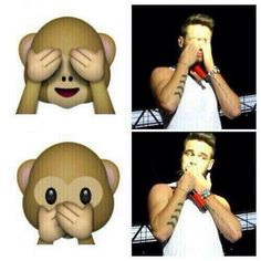 Liam doing the monkey emojis!
