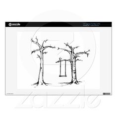 Drawn Autumn Sad Trees Branches Swing Black White Skin For Laptop from Zazzle.com
