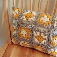 Colors, closure @Joyce Revell Crocheted Pillow Cover - Yellow, Gray, and White - Granny Squares