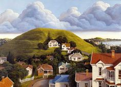 Auckland is built on a volcanic field, with small volcanic cones scattered over the landscape. The cone in the foreground of this painting is Mt Hobson in the suburb of Remuera, with Mt Victoria at Devonport in the distance (right). New Zealand Art, Nz Art, Auckland, Landscape Paintings, Exterior, Contemporary, Pictures, Photography, Level 3