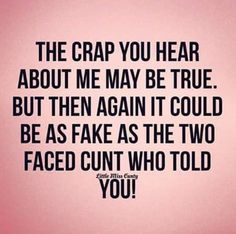 The crap you hear about me may be true. But then again it could be as fake as the two faced CUNT who told you! Fake People Quotes, Fake Friend Quotes, Bitch Quotes, Sassy Quotes, Badass Quotes, True Quotes, Quotes To Live By, Funny Quotes, Quotes For Jealous People