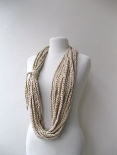 Hand crochet Taupe Scarf Lariat Cowl Necklace - Fall Fashion Winter accessories Christmas Holiday