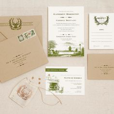 """Brides.com: . """"Woodlands"""" wedding invitation, price available upon request, Antiquaria Design Studio"""