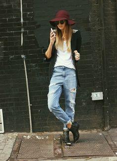 Zara Blazer(sold out) - Similar | All Saints Tee | Topshop Boots | BikBok Jeans - Similar