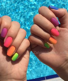 23 Colorful Nail Art Designs That Scream Summer 23 Colorful Nail Art Designs That Scream Summer – StayGlam - Page 2 Nail Art Designs, Easter Nail Designs, Acrylic Nail Designs, Acrylic Nails, Gradient Nails, Rainbow Nails, Neon Nails, Bling Nails, Galaxy Nails