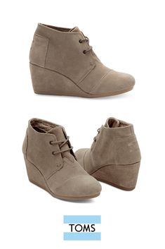 a88e183b79c3 These TOMS Taupe Suede Women s Desert Wedges add a little height to a  comfortable and casual ankle boot. Dress them up for a holiday party or  down for work ...