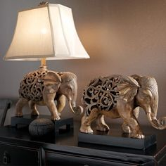 Thai Elephant Table Lamp In Brown With Cream shade,Lighting,Beacon Lighting