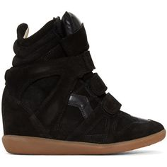 Isabel Marant Black Suede Bekett Wedge Sneakers ($585) ❤ liked on Polyvore featuring shoes, sneakers, black, black shoes, black velcro sneakers, wedge sneakers, black suede shoes and suede sneakers