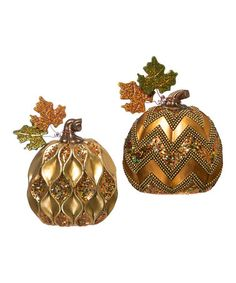 Loving this Embellished Harvest Pumpkin Décor - Set of Two on #zulily! #zulilyfinds