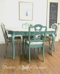 Vintage French Provincial Dining Set with Queen Anne Table and 4 Chairs Refinished with New Foam and Stain Resistant Fabric. Elegant Two Tone Painted Blue and Grey with Metallic Brushed Silver on the