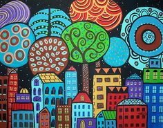 "New painting, now available, check it out....City, 14x11"" on 140lb watercolor paper, copyrighted,www.karlagerard.com"