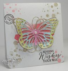 I am so excited to share with you a fun little technique using Stampin' Up!'s Blendabilities and the Butterfly Basics stamp set and coordinating Butterflies Thinlits Dies.  The layout of this card was hugely inspired by a new friend (Bekka) I met during Stampin' Up!'s Leadership Conference in Orlando, Florida a few weeks ago.