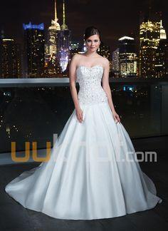A-line Strapless Chapel Train Taffeta Wedding Dress - UUknot.com