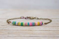 Colorful Yarn Bead Fiber art Bracelet by jimenasjewelry on Etsy